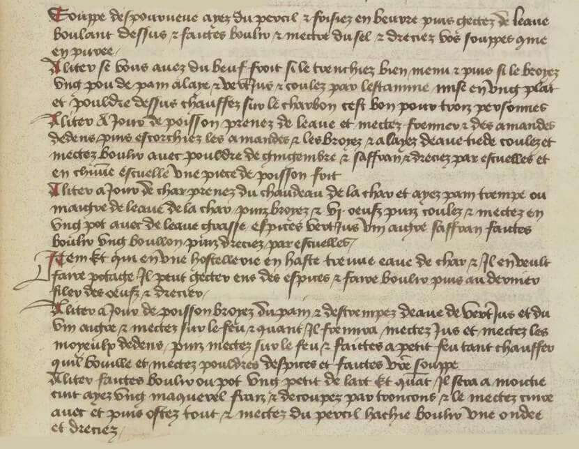 Soupe improvisée - Manuscrit médiéval Souppe despourveue