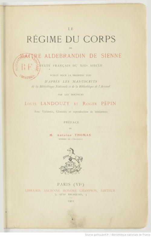 Le Régime du corps – Aldebrandin de Sienne [PDF]