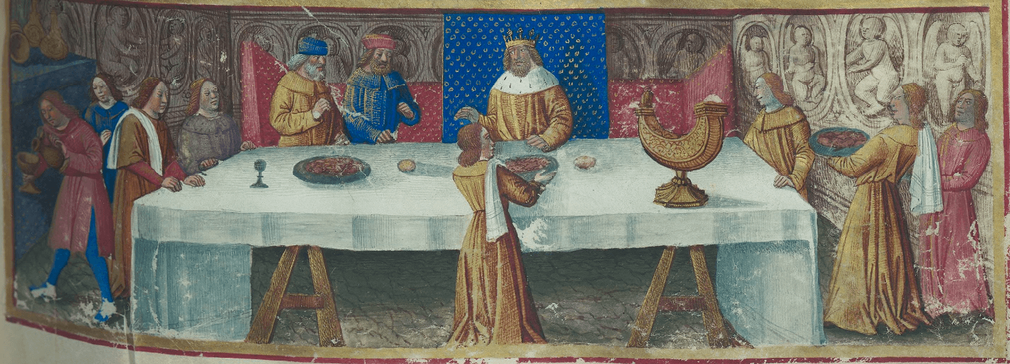 Syphax recevant Scipion l'africain et Hasdrubal à sa table, folio 197 - Les arts de la table figurés